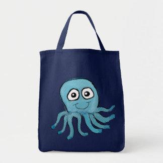 Bolso azul del pulpo bolsa tela para la compra