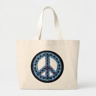 bolso azul del signo de la paz bolsa tela grande