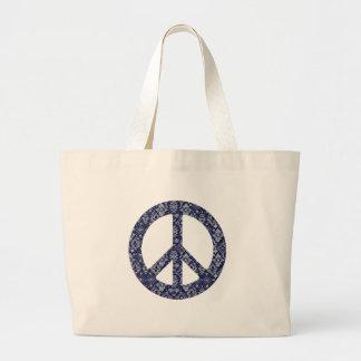 Bolso azul del signo de la paz del pañuelo bolsa tela grande