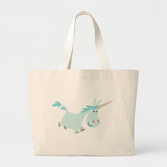 Bolso azul del unicornio del dibujo animado bolsa de tela grande