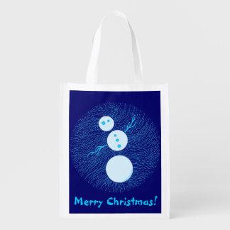 Bolso azul lindo del regalo de las Felices Navidad Bolsa De La Compra