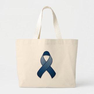Bolso azul marino de la cinta de la conciencia bolsa tela grande