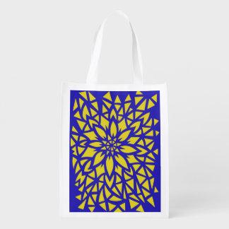 Bolso azul y amarillo de la flor bolsa de la compra