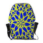 Bolso azul y amarillo de la flor bolsas de mensajería