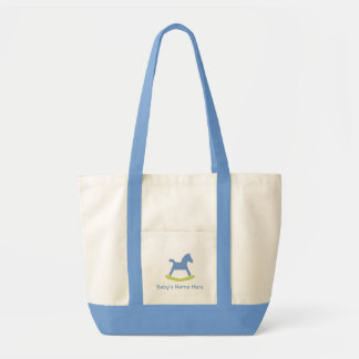 Bolso azul y amarillo del bebé del caballo mecedor bolsa tela impulso