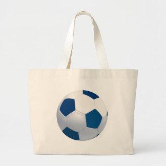 Bolso azul y blanco de la lona del balón de fútbol bolsa tela grande