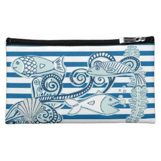 Bolso azul y blanco del océano y de los pescados
