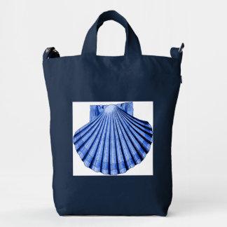Bolso azul y blanco del vintage de concha de bolsa de lona duck
