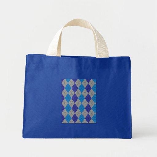 Bolso azul y gris de Argyle Bolsa Tela Pequeña