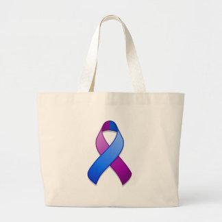 Bolso azul y púrpura de la cinta de la conciencia bolsa tela grande