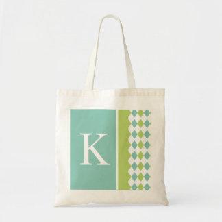 Bolso azul y verde del monograma del diamante bolsa tela barata