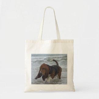 Bolso Basset Hound por el mar Bolsa Tela Barata