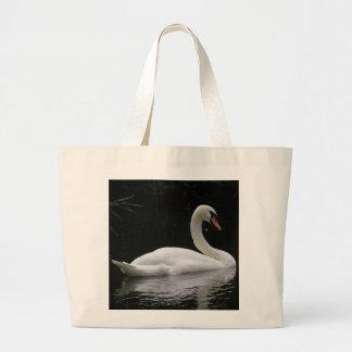 Bolso blanco agraciado del cisne bolsa tela grande