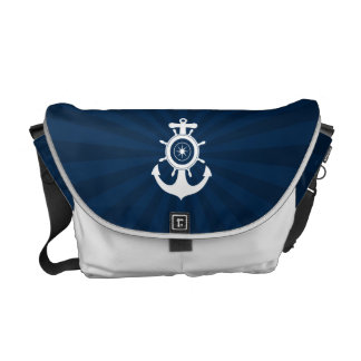 Bolso blanco azul del marinero del ancla bolsas messenger