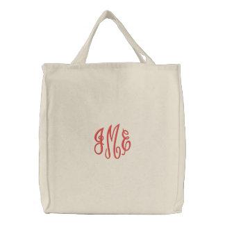 Bolso blanco bordado monograma rojo de muy buen bolsa
