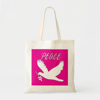 bolso blanco de la paloma de la paz bolsa lienzo