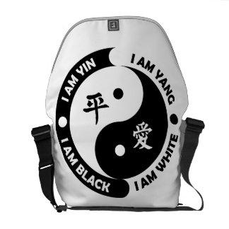 Bolso blanco de la paz del negro del amor bolsas de mensajería