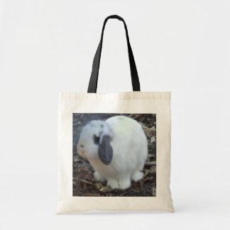 Bolso blanco del conejito de pascua bolsa lienzo