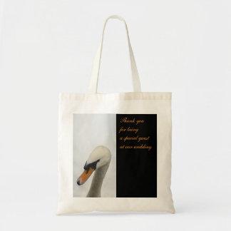 Bolso blanco del favor del boda del cisne para las bolsa tela barata