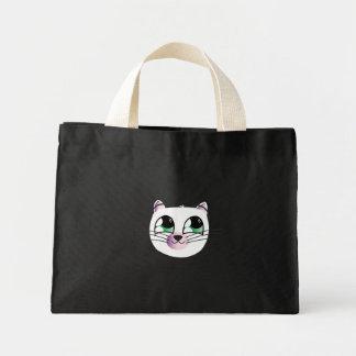 Bolso blanco feliz del gato bolsas de mano
