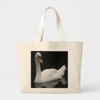 Bolso blanco hermoso del cisne bolsa tela grande
