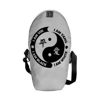 Bolso blanco negro de la paz de Yin Yang Bolsa De Mensajería