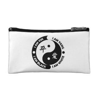 Bolso blanco negro del cosmético de la paz de Yin