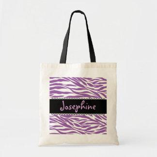 Bolso blanco negro púrpura de la novia de la cebra bolsa