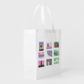 Bolso blanco reutilizable con diseños coloridos de bolsas para la compra