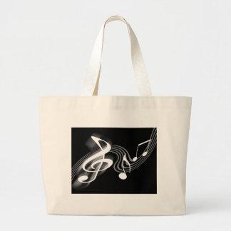 Bolso blanco y negro de la escala musical bolsa de mano