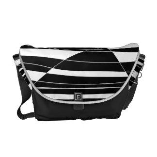 Bolso blanco y negro tallado de la onda bolsas de mensajeria