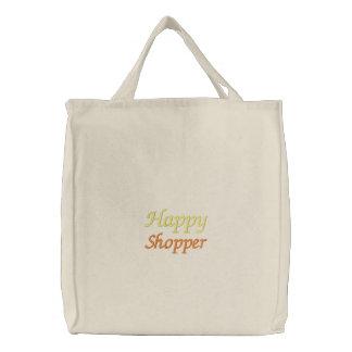 Bolso bordado comprador feliz bolsa de tela bordada