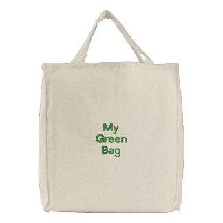Bolso bordado compras reutilizables verdes bolsa