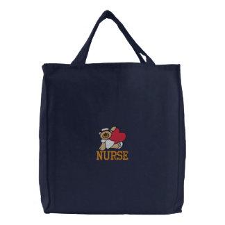 Bolso bordado enfermera del oso de peluche bolsas de lienzo