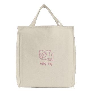 bolso bordado Gato-uno-portero del bebé (rosa Bolsa De Tela Bordada