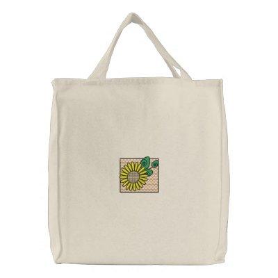 Bolso bordado girasol bolsa de lienzo