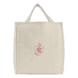 Bolso bordado inicial del monograma del conejito bolsa bordada