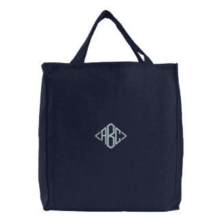 Bolso bordado inicial personalizado bolsa de lienzo