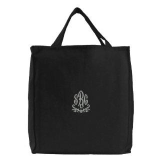 Bolso bordado iniciales elegantes del monograma bolsa de mano bordada