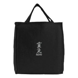 Bolso bordado kanji de Reiki Bolsas De Lienzo