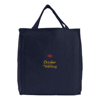 Bolso bordado marina de guerra del boda de octubre bolsa