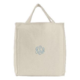 Bolso bordado monograma de encargo de los azules bolsas