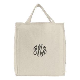 Bolso bordado monograma negro de muy buen gusto de bolsas de mano bordadas