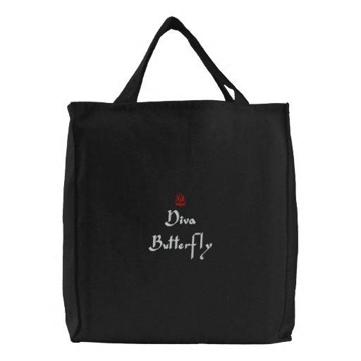 Bolso bordado negro de la mariposa de la diva bolsa de mano bordada