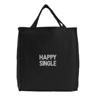 Bolso bordado personalizado, solo feliz, amor de bolsas de lienzo