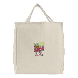Bolso bordado piña de la flor del hibisco de la ha bolsa de lienzo