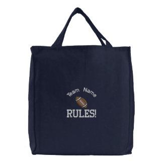 Bolso bordado reglas del equipo de fútbol bolsa de mano bordada