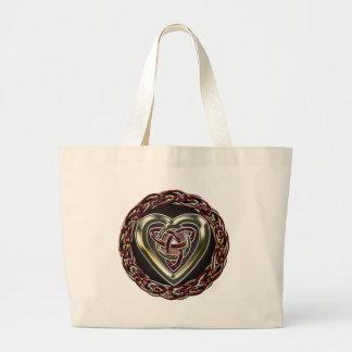 Bolso céltico del corazón bolsa tela grande