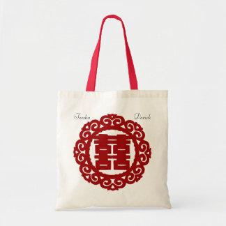 Bolso chino rojo de la felicidad del doble del bolsa tela barata