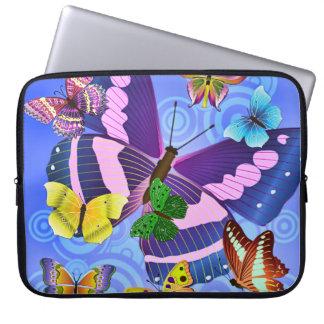 Bolso colorido de la electrónica de las mariposas funda computadora
